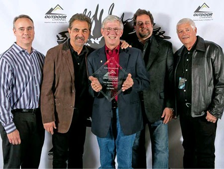 From left to right: Director Tim Cremin, Host and Producer Joe Mantegna, MidwayUSA Founder and CEO Larry Potterfield, Producer Dan Ramm, Producer Michael Bane