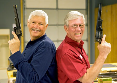 Outdoor Channel's Michael Bane (left) and MidwayUSA's Founder Larry Potterfield on set in GunTec