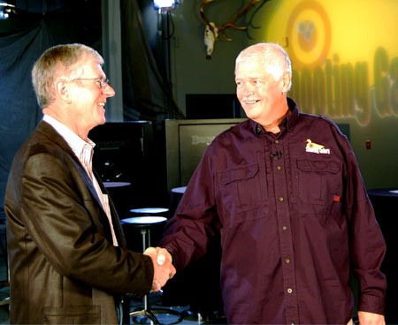 Larry Potterfield (left) and Michael Bane on site in the GunTec studio.