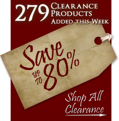 279 Products added to Clearance this week - Save up to 80%