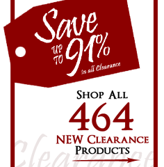 464 Products added to Clearance this week - Save up to 91%