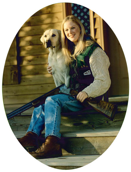 Catalog cover picture of our daughter Sara, taken in 1995; pretty girl, pretty dog and pretty shotgun.