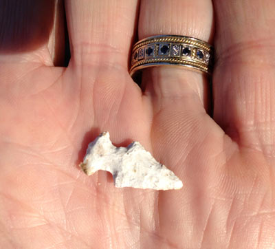 This is about as small as they get.  Knowledgeable folks I know call this an actual arrowhead 'bird point'; but some say it may have been attached to ceremonial clothing.