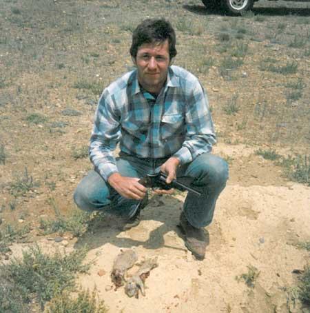 Larry in a prairie dog field with a S&W M-28.