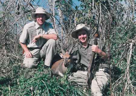 The bushbuck gets his name because he hangs around the bush areas, rather than the open plain.  Russell is pleased with his trophy.