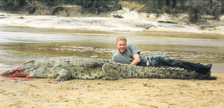 Russell is a little over six feet tall, so this a pretty big croc.