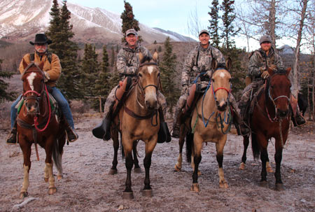 Moose hunting in the Yukon – 2014; L-R Sam Mahood (guide), myself, Matt Fleming, and Brenan Grove (guide)