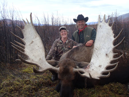 Brenda and Jim with what Jim called the 'pretty moose'.