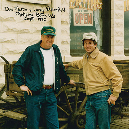 Don and I in front of the Virginian Hotel in Medicine Bow, Wyoming, a few years earlier. - 1990.