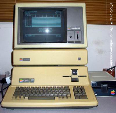Our first computer, an Apple III, back in 1982