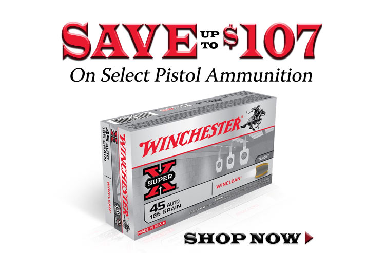 Save up to $107 on Select Winchester Pistol Ammo