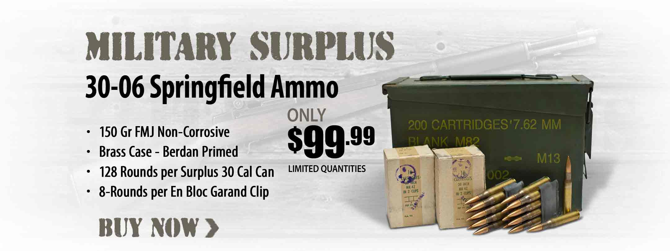 Military Surplus 30-06 Ammo 150 Gr FMJ Loaded in 8-Rnd Garand Clips Ammo Can of 128 Rnds