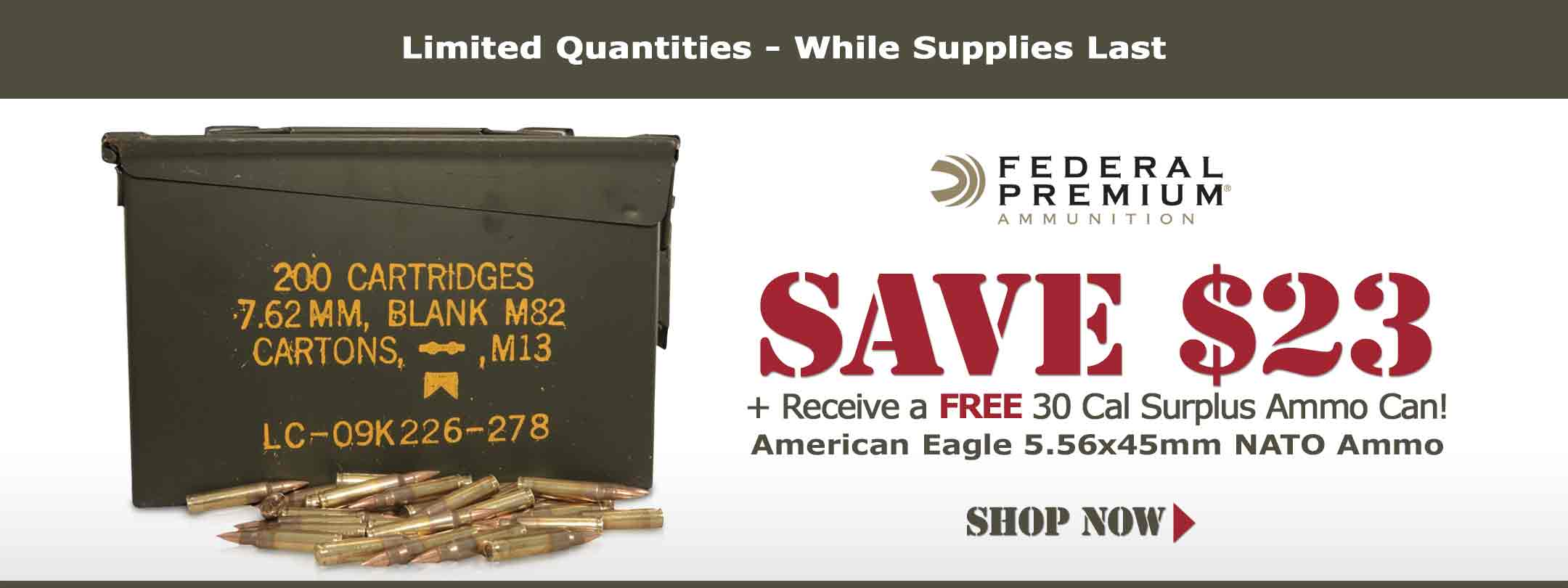 Federal 5.56x45mm Ammo + FREE Ammo Can