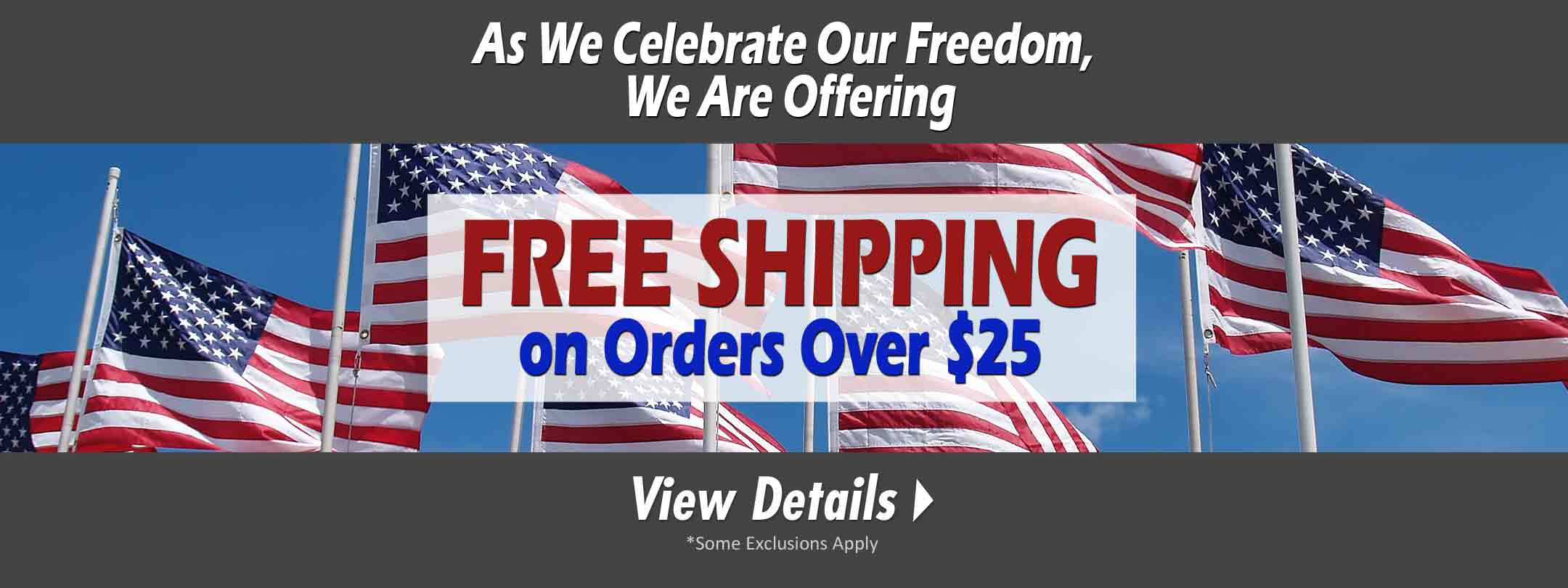 One Day Only - Free Shipping on Independence Day