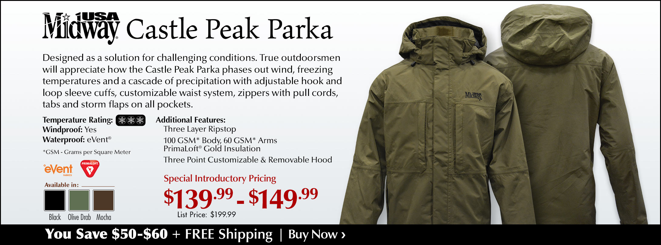 Special Introductory Pricing on MidwayUSA Castle Peak Parka + Free Shipping