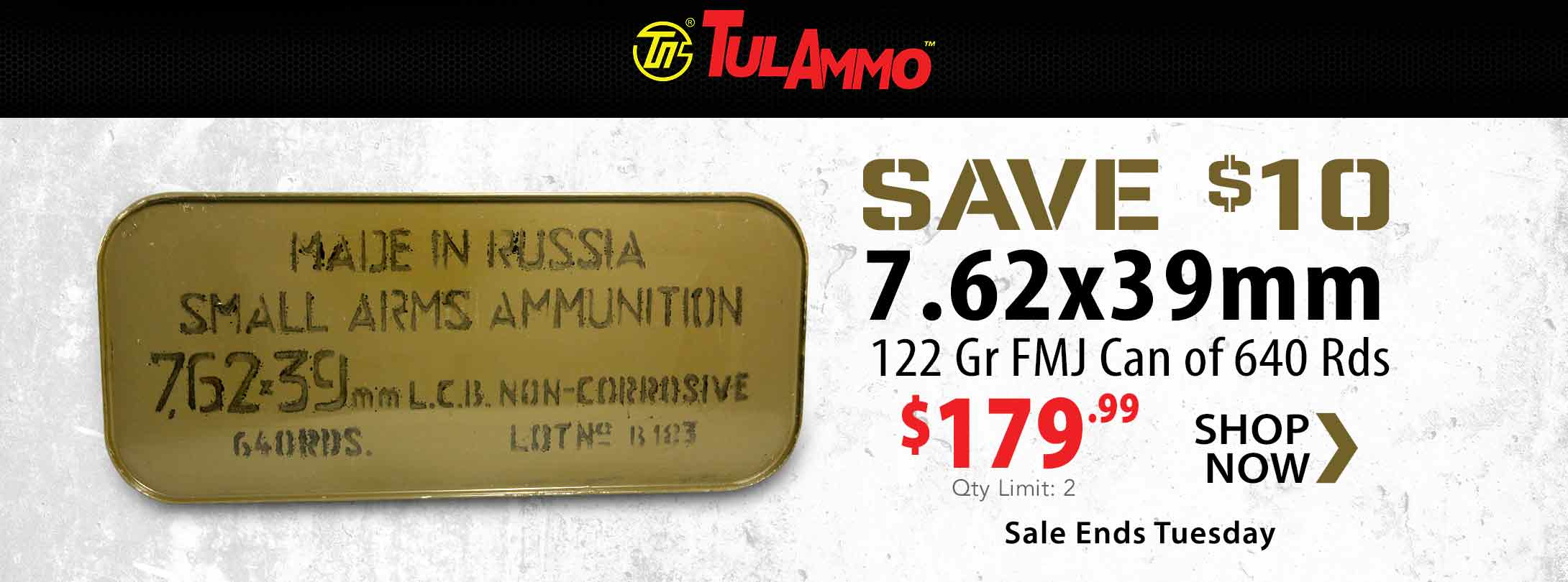 $10 Off tulAmmo 7.62x39mm 122 Gr FMJ Can of 640