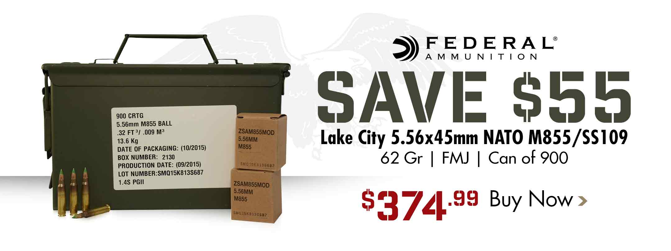 Save $55 on Federal 5.56x45mm M855 SS109 Ammo Can of 900
