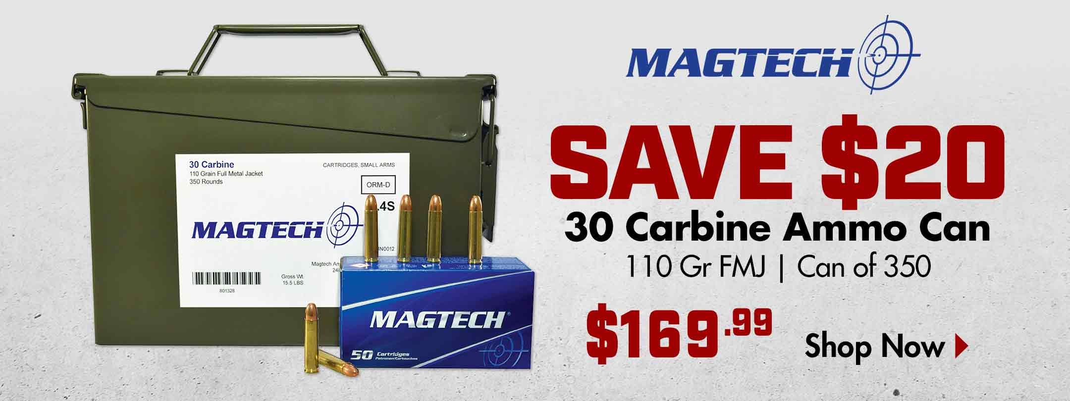 Save $20 on Magtech 30 Carbine 100 Gr FMJ Ammo Can of350