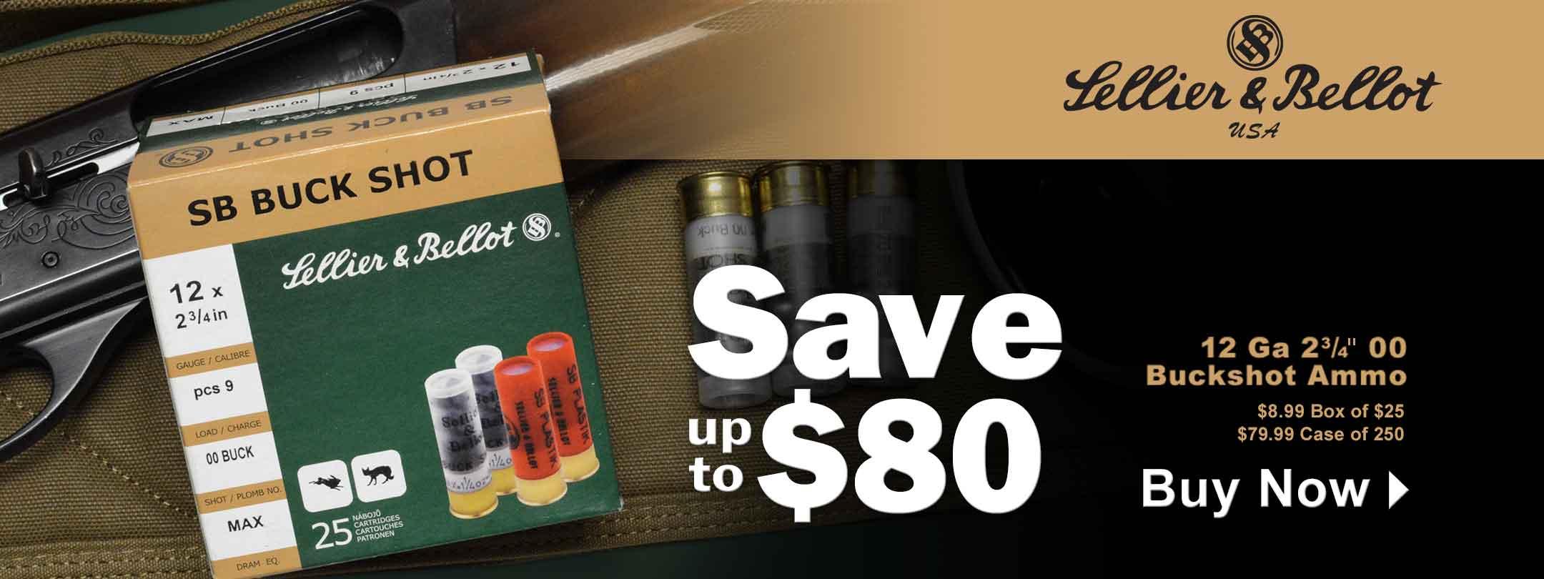 Hot Buy - Save up to $80 Sellier & Bellot 12 Ga 00 Buckshot Ammo