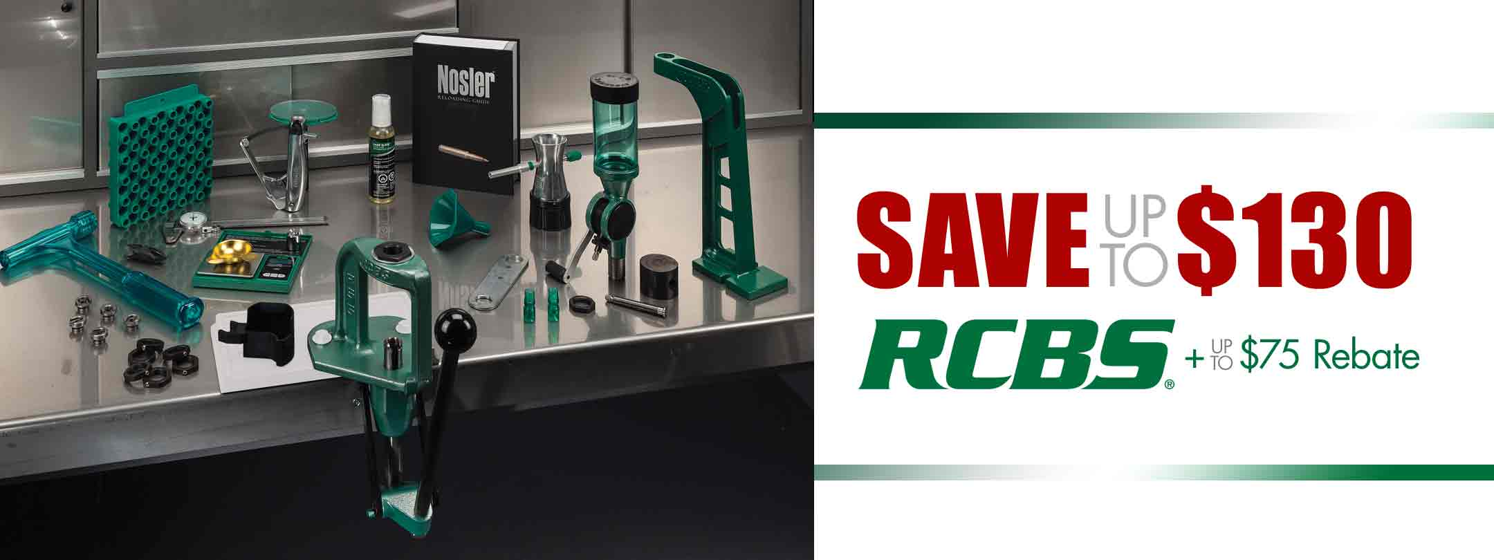 Save up to $130 on RCBS  + up to $75 Rebate