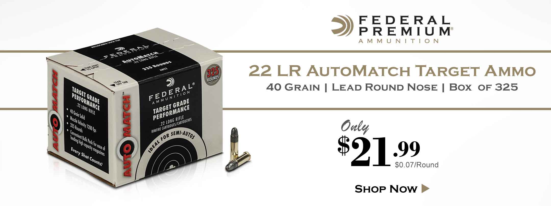 Now Available - Federal 22 LR AutoMatch Target Ammo