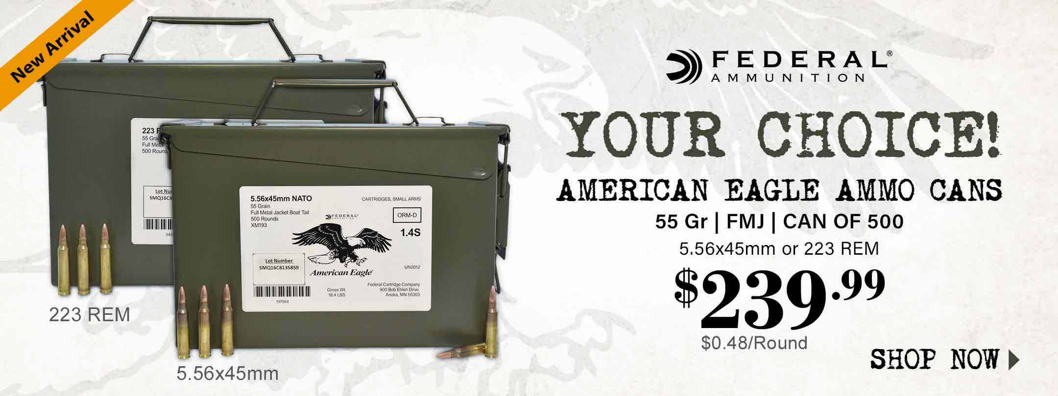 Your Choice! Federal American Eagle Ammo Cans 5.56mm & 223 REM
