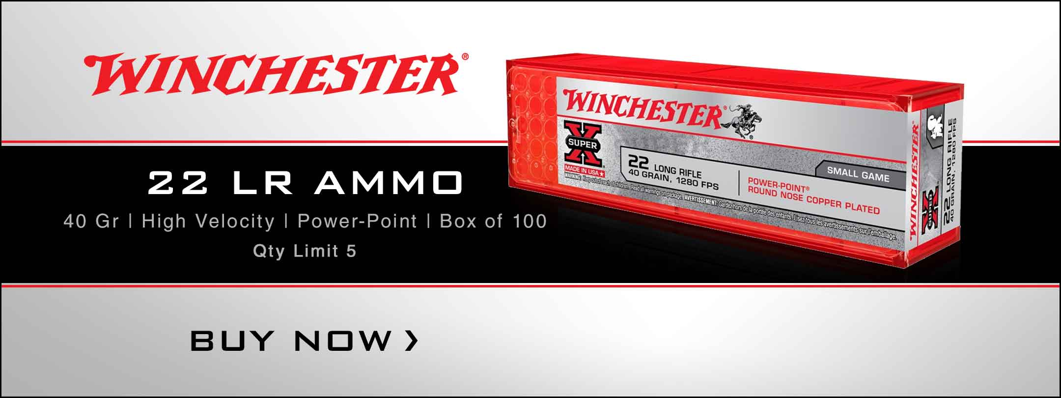 In Stock Now! Winchester Super-X High Velocity 22 LR 40 Gr Power-Point - Box of 100