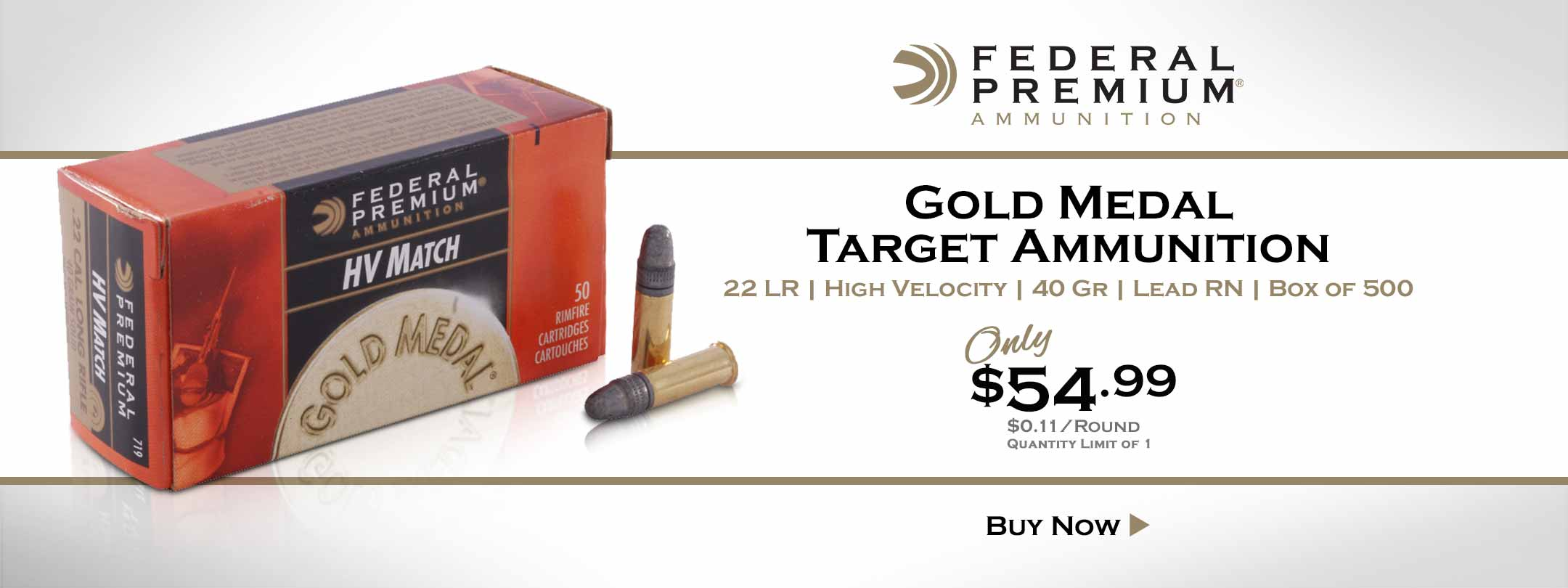 Now Available Federal 22 LR Gold Medal Target Ammo