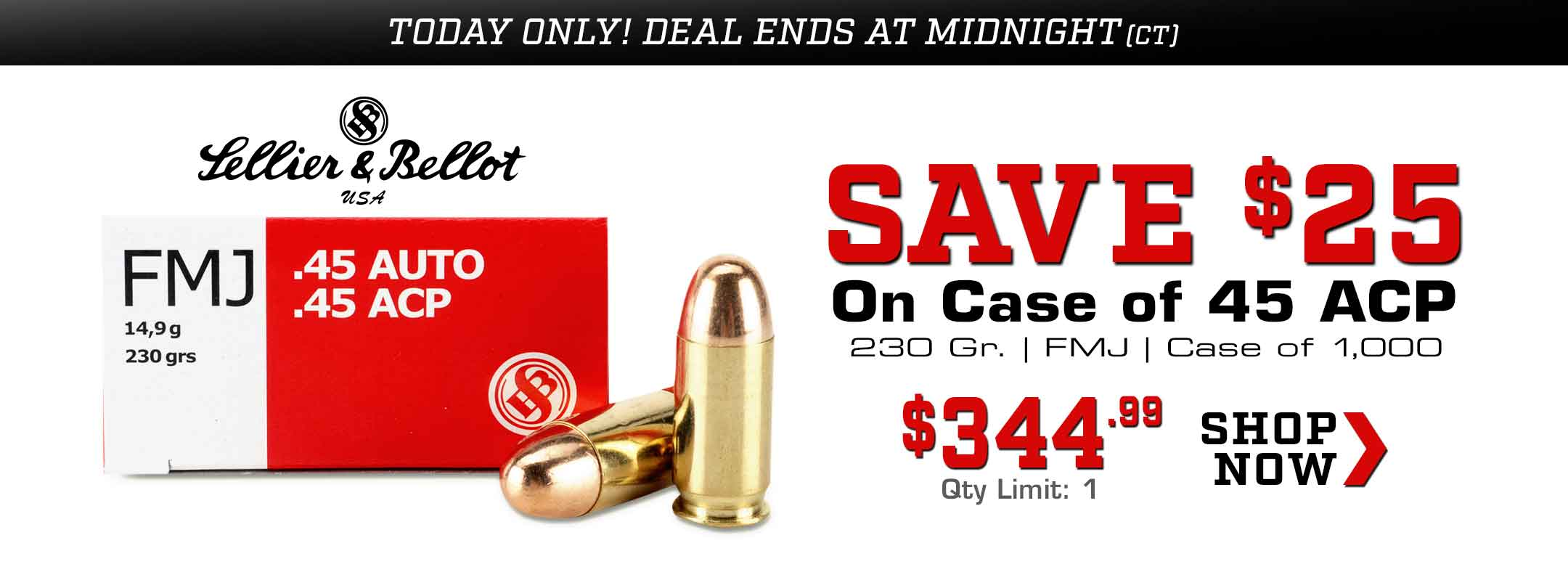 Save $25 on Case of Sellier & Bellot 45 ACP