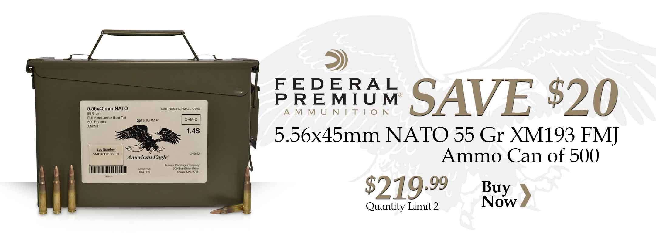 Federal 5.56x45mm NATO 55 Gr XM193 FMJ BT Ammo Can of 500