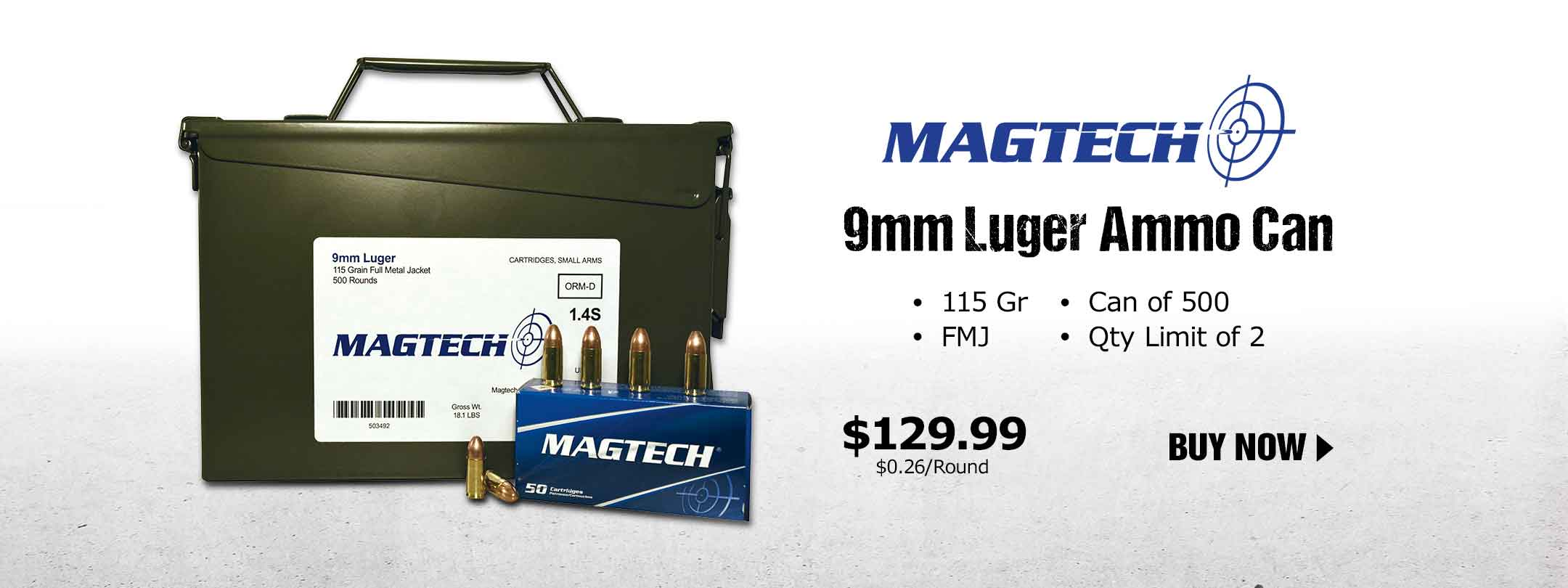 Magtech 9mm Luger 115 Gr FMJ 500 Rnds in 30 Cal Ammo Can
