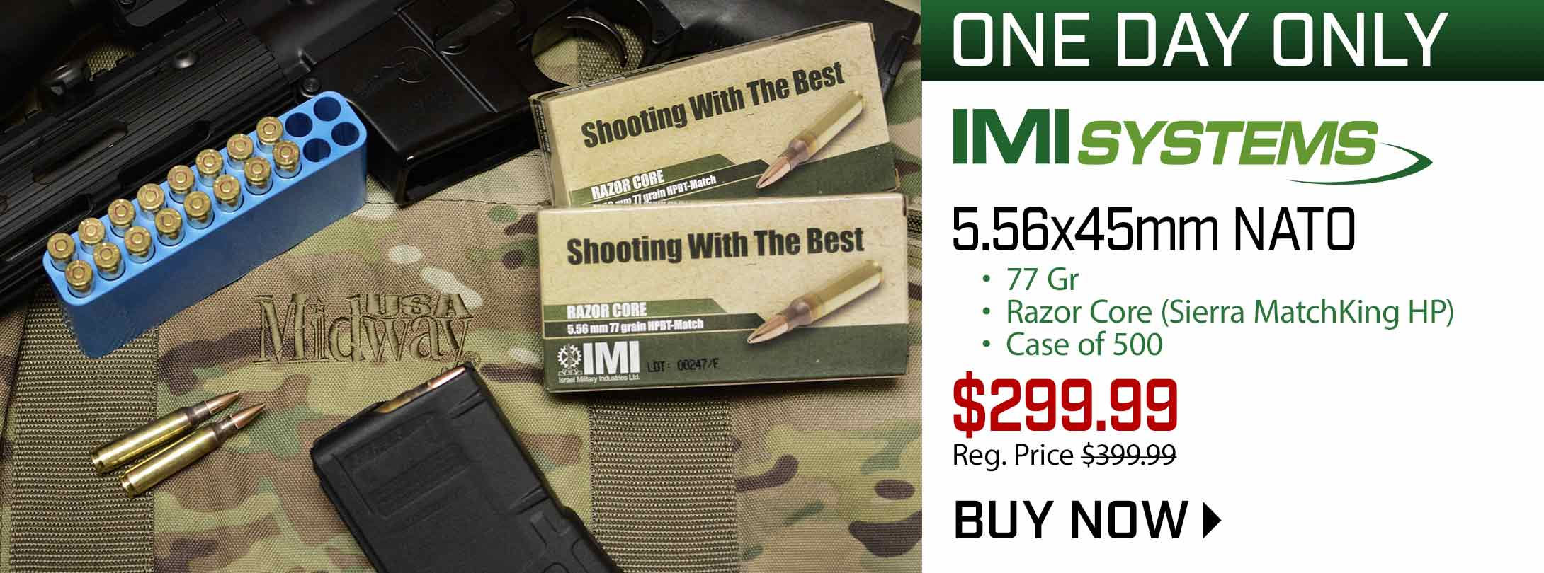 One Day Only: IMI 5.56x45mm Case of 500 - $299.99