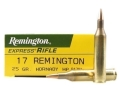 Product detail of Remington Express Ammunition 17 Remington 25 Grain Hornady Hollow Point Box of 20