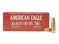 Product detail of Federal American Eagle Ammunition 25 ACP 50 Grain Full Metal Jacket Box of 50