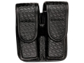 Product detail of Bianchi 7902 AccuMold Elite Double Magazine Pouch Single Stack 9mm, 45 ACP Hidden Snap Basketweave Trilaminate Black