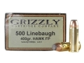 Product detail of Grizzly Ammunition 500 Linebaugh 400 Grain Hawk Bonded Core Jacketed Soft Point Box of 20