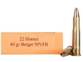 Product detail of HSM Varmint Gold Ammunition 22 Hornet 40 Grain Berger Varmint Hollow Point Flat Base Box of 20
