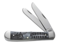 Product detail of Case 7071 Image XX War Trapper Folding Pocket Knife 2 Blade Spey and Clip Point Stainless Steel Blades Grey Bone Handle with Enduring Freedom Engraved on Handle Grey