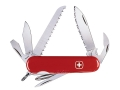 Product detail of Wenger Swiss Army Serrated Backpacker II Folding Knife 13 Function Swiss Surgical Steel Blades Polymer Scales Red