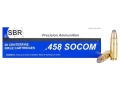 Product detail of SBR Ammunition 458 SOCOM 350 Grain Jacketed Soft Point Box of 20