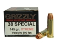 Product detail of Grizzly Self-Defense Ammunition 38 Special 145 Grain Xtreme Copper Hollow Point Lead-Free Box of 20