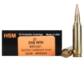 Product detail of HSM Varmint Gold Ammunition 243 Winchester 69 Grain Berger Varmint Hollow Point Flat Base Box of 20