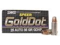 Product detail of Speer Gold Dot Ammunition 25 ACP 35 Grain Jacketed Hollow Point Box of 20