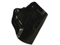Product detail of DeSantis Mini Scabbard Outside the Waistband Holster Right Hand Taurus 709 Slim Leather Black