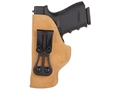 Product detail of Blackhawk Tuckable Holster Inside the Waistband Left Hand Glock 19, 23, 32, 36  Leather Brown