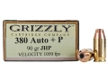 Product detail of Grizzly Ammunition 380 ACP +P 90 Grain Jacketed Hollow Point Box of 20