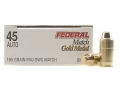 Product detail of Federal Premium Gold Medal Match Ammunition 45 ACP 185 Grain Full Metal Jacket Semi-Wadcutter