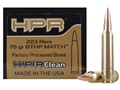 Product detail of HPR HyperClean Remanufactured Ammunition 223 Remington 75 Grain Hollow Point Boat Tail Box of 50