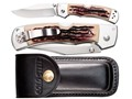 "Product detail of Cold Steel Mackinac Hunter Thumb Stud Folding Knife with Sheath 3-1/2"" AUS 8A Stainless Steel Blade Faux Stag Handle"