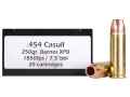 Product detail of Doubletap Ammunition 454 Casull 250 Grain Barnes TAC-XP Hollow Point Lead-Free Box of 20